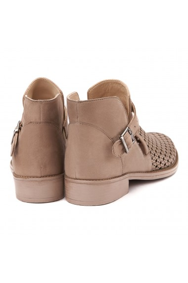 Pantofi dama casual din piele naturala bej 1417