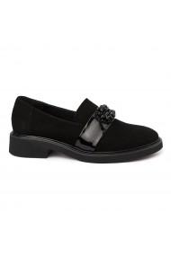 Pantofi Dama Din Piele Naturala Neagru Velur Fara Siret 1751