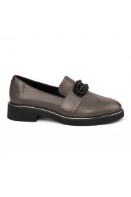 Pantofi Dama Din Piele Naturala Maro Fara Siret 1754
