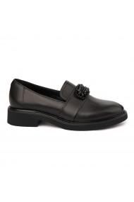 Pantofi Dama Din Piele Naturala Neagra Fara Siret 1755