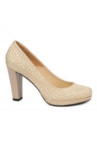 Pantofi dama din piele naturala cu toc 4860