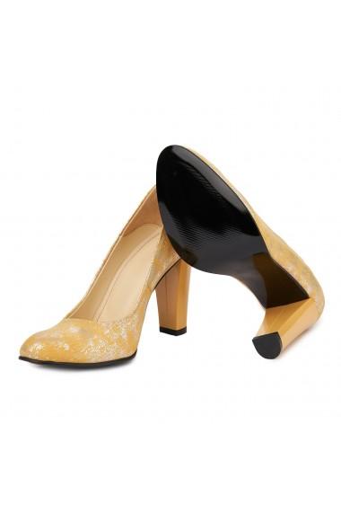 Pantofi dama din piele naturala cu toc 4863