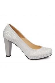 Pantofi dama din piele naturala cu toc 4871