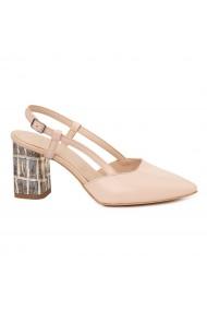 Pantofi dama crem din piele naturala 4889