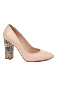 Pantofi dama crem din piele naturala 4890