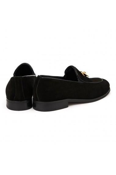 Mocasini eleganti din piele naturala neagra 1127