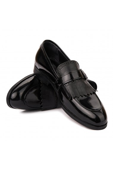 Mocasini eleganti din piele naturala neagra 7003