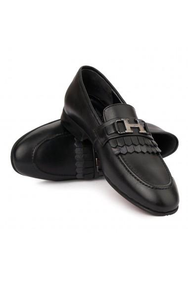 Mocasini eleganti din piele naturala neagra 7009