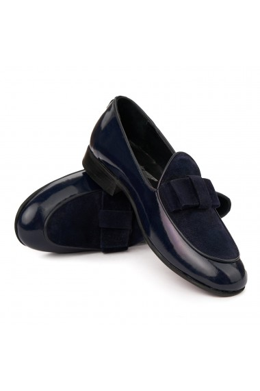 Mocasini eleganti din piele naturala albastra 7010