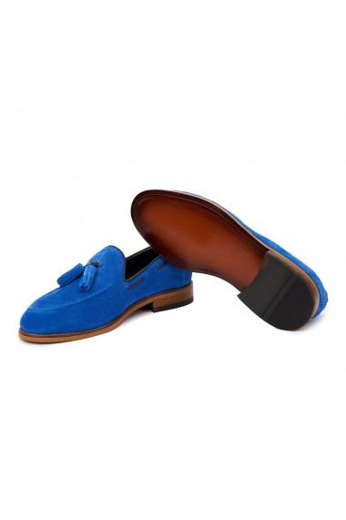 Mocasini eleganti din piele naturala albastra 7019