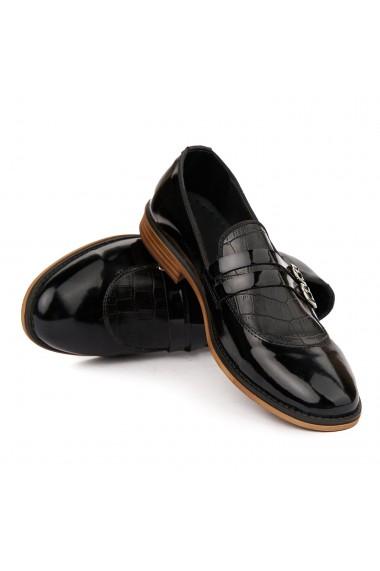 Mocasini eleganti din piele naturala neagra 7007