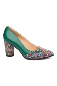 Pantofi dama din piele naturala verde cu toc colorat 4278