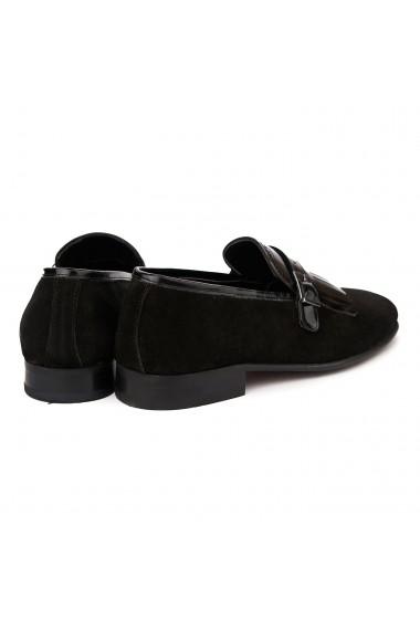 Mocasini eleganti din piele naturala neagra 1125