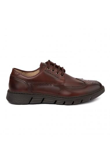 Pantofi casual din piele naturala maro 7030