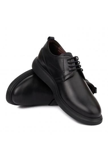 Pantofi casual din piele naturala neagra 7031