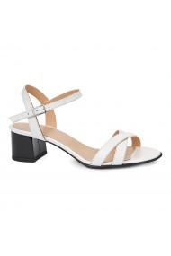 Sandale dama din piele naturala alba 5413