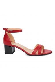 Sandale dama din piele naturala rosie 5418