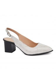 Sandale elegante din piele naturala gri 5419