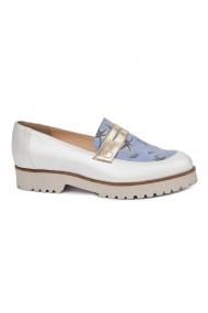 Pantofi dama fara siret din Piele Naturala alba 1767