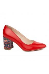 Pantofi dama toc gros din piele naturala rosie 4893