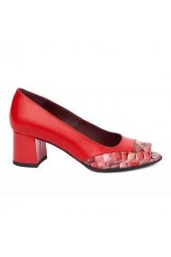 Pantofi dama din piele naturala rosie 4896