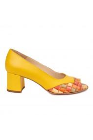 Pantofi dama din piele naturala galbena 4899