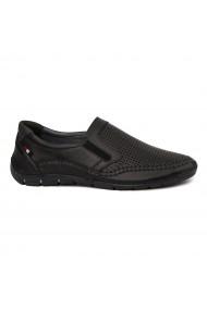 Pantofi Casual fara siret din Piele Naturala Neagra 7043