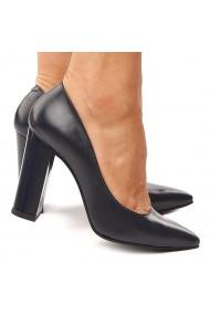 Pantofi dama din piele naturala bleumarin 4197