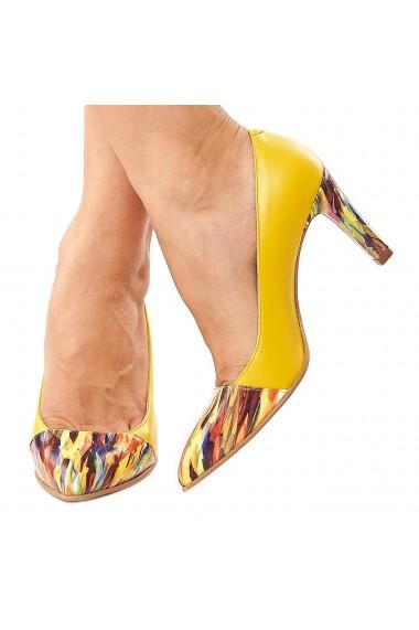 Pantofi dama din piele naturala galbena cu toc colorat 4209
