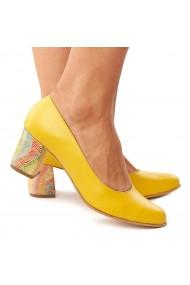 Pantofi dama din piele naturala galbena toc colorat 4177