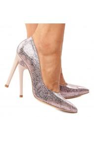 Pantofi dama din piele naturala lila 4220