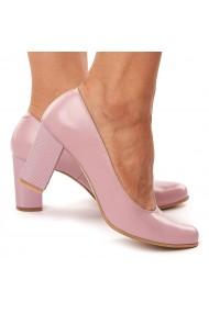 Pantofi dama din piele naturala roz 4169