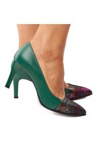 Pantofi dama din piele naturala verde 4189
