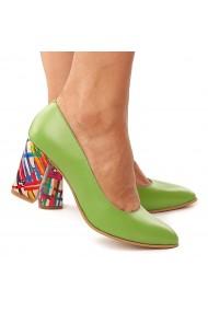 Pantofi dama din piele naturala verde toc colorat 4172