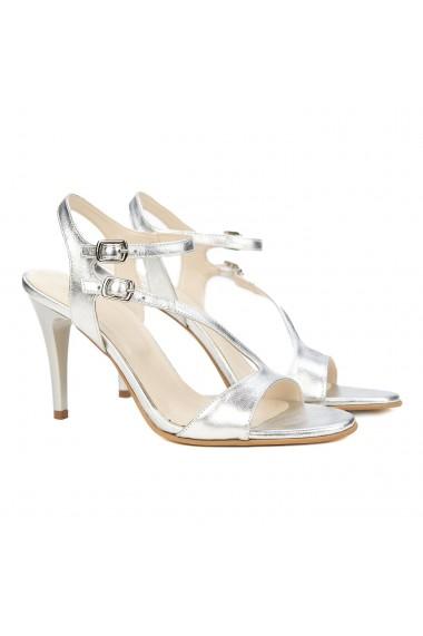 Sandale dama elegante din piele argintie 5162