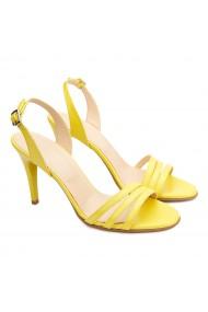Sandale dama elegante din piele naturala galbena 5184
