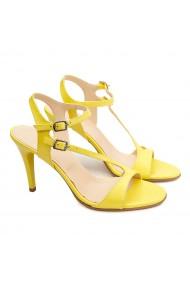 Sandale dama elegante din piele naturala galbena 5193