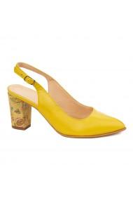 Sandale dama elegante din piele naturala galbena 5460
