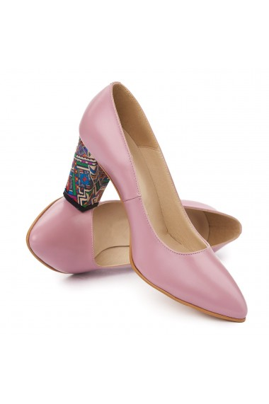 Pantofi dama din piele naturala roze 4934