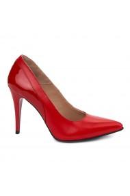 Pantofi din Piele Naturala rosie cu toc ascutit 4943