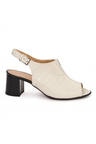 Sandale elegante toc gros din piele naturala bej 5518