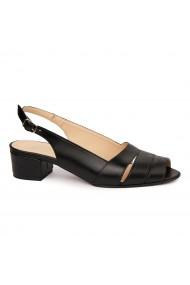 Sandale elegante din piele naturala neagra cu toc mic 5527