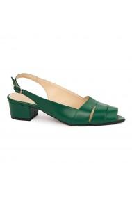 Sandale elegante din piele naturala verde cu toc mic 5528