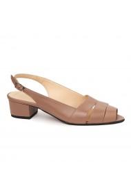 Sandale elegante din piele naturala bej cu toc mic 5529