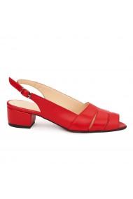 Sandale elegante din piele naturala rosie cu toc mic 5530