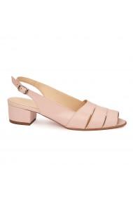 Sandale elegante din piele naturala roz cu toc mic 5531