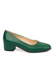 Pantofi dama toc mic din piele naturala verde 4952