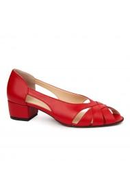 Pantofi decupati toc mic din piele naturala rosie 4960
