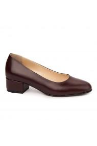 Pantofi dama toc mic din piele naturala grena 4974