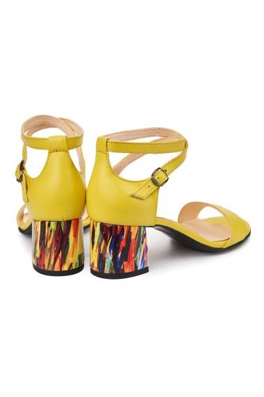 Sandale dama elegante din piele naturala galbena 5540